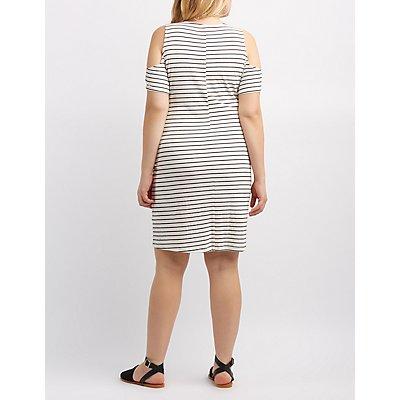 Plus Size Striped Lace-Up Cold Shoulder Dress