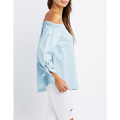Chambray Off-The-Shoulder Tie Sleeve Top