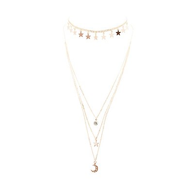 Star Choker & Layered Necklace - 2 Pack