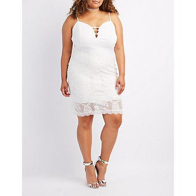 Plus Size Caged Lace Skirt Dress