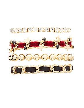 Embellished Star Layering Bracelets - 4 Pack