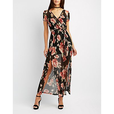 Floral Mesh Surplice Maxi Dress