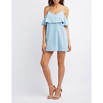 Chambray Ruffle Cold Shoulder Dress