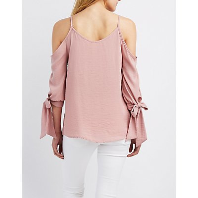 Cold Shoulder Tie Sleeve Top
