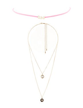 Beaded Choker & Chainlink Layering Necklaces - 3 Pack