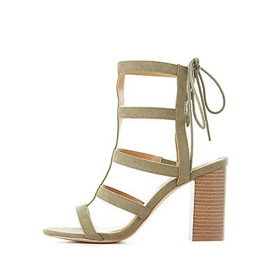 Stacked Heel Gladiator Sandals