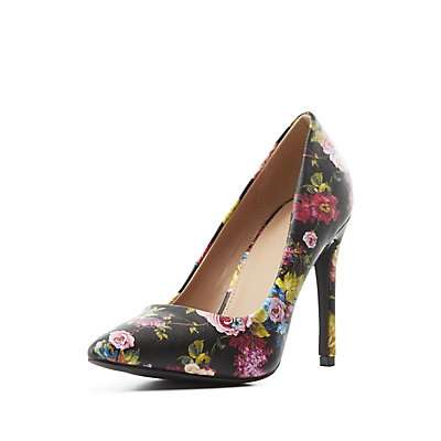 Floral Pointed Toe Pumps
