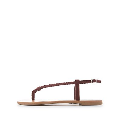Braided Slingback Thong Sandals