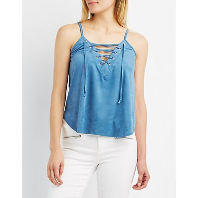 Faux Suede Lace-Up Tank Top