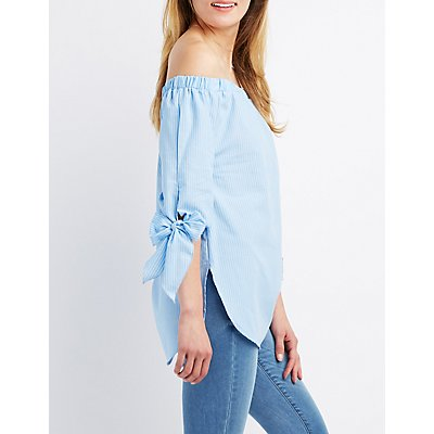 Striped Off-The-Shoulder Tie Top