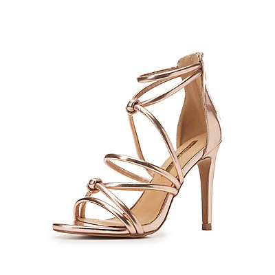 Metallic Knotted Caged Dress Sandals