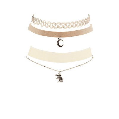 Pendant, Faux Suede, Velvet & Tattoo Choker Necklaces - 4 Pack