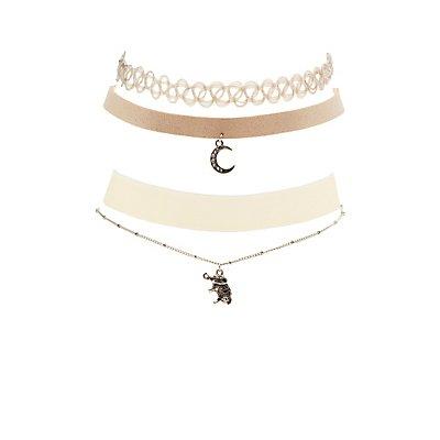 Pendant, Faux Suede, Velvet & Tattoo Choker Necklaces - 4 Pack