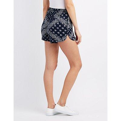 Bandana Print Drawstring Shorts
