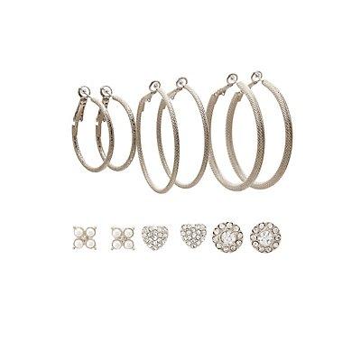 Hoop & Embellished Stud Earrings Set