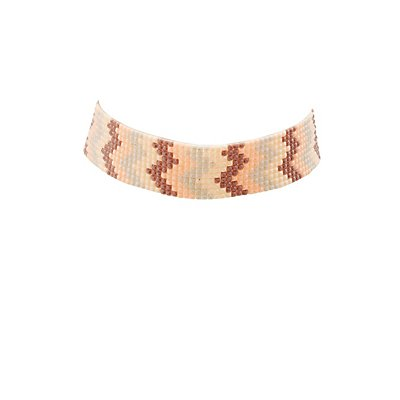 Beaded Chevron Choker Necklace