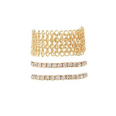 Rhinestone & Chainmail Layering Bracelets - 3 Pack