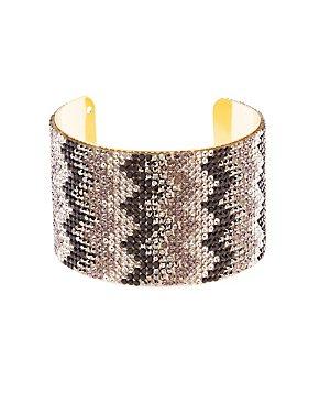 Chevron Rhinestone Cuff Bracelet