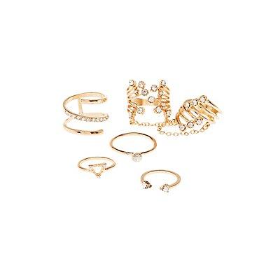 Embellished Stackable Rings - 5 Pack