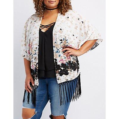 Plus Size Textured Floral Fringe-Hem Kimono