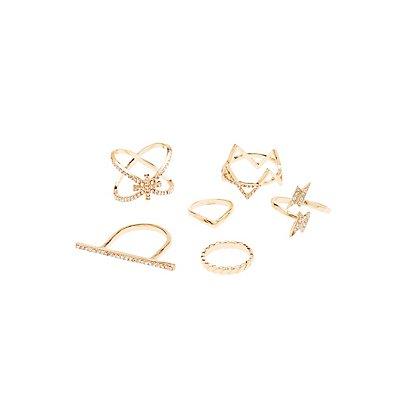 Embellished Stackable Rings & Midi Rings - 6 Pack