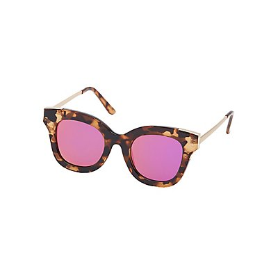 Tortoise Shell Reflective Sunglasses