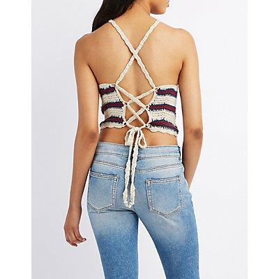 Crochet Bib Neck Crop Top