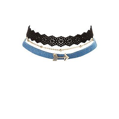 Denim, Chainlink & Laser Cut Choker Necklaces - 3 Pack