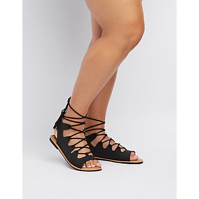 Wide Width Lace-Up Gladiator Sandals
