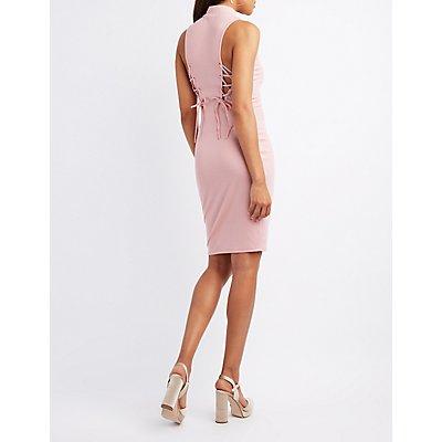 Mock Neck Lace-Up Detail Dress