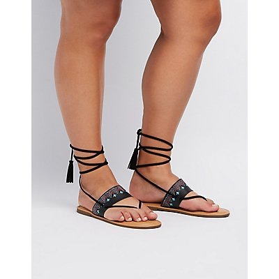 Wide Width Embroidered Lace-Up Thong Sandals