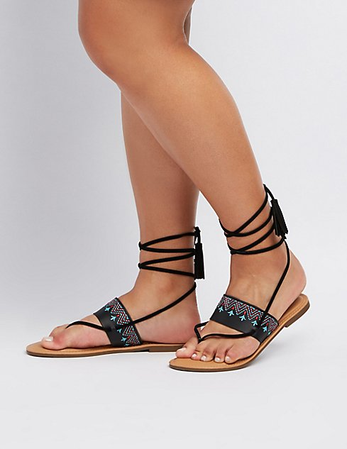 b8a6c3b902a3 ... Wide Width Embroidered Lace-Up Thong Sandals ...