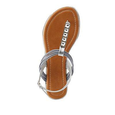 Wide Width Rhinestone T-Strap Sandals