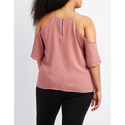 Plus Size Cold Shoulder Bib Neck Top
