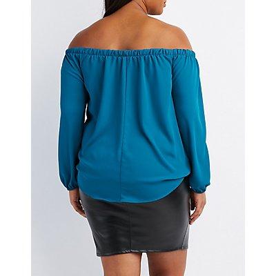 Plus Size Surplice Off-The-Shoulder Top