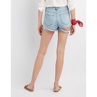 Refuge Hi-Rise Cheeky Destroyed Denim Shorts