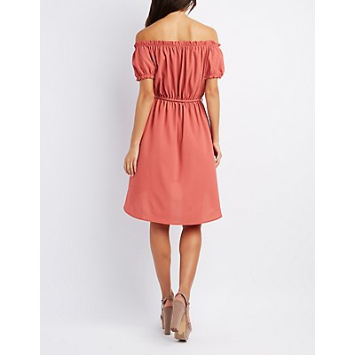 Off-The-Shoulder Tie-Waist Dress