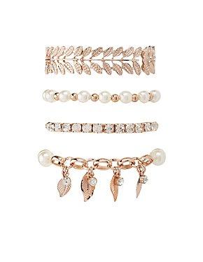 Embellished Leaf Layering Bracelets - 4 Pack
