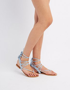 Faux Suede Lace-Up Thong Sandals