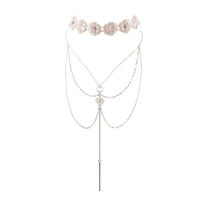 Daisy Choker & Layered Chainlink Necklace - 2 Pack