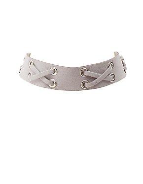 Faux Suede Lace-Up Choker Necklace