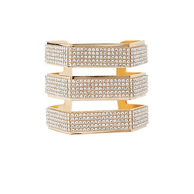 Plus Size Embellished Caged Cuff Bracelet