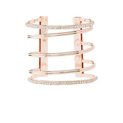 Plus Size Embellished Metal Cuff Bracelet