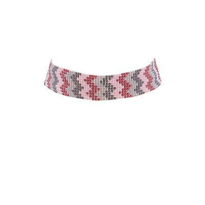 Plus Size Beaded Chevron Choker Necklace