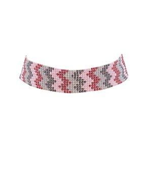 Plus Size Beaded Chevron Choker Necklace