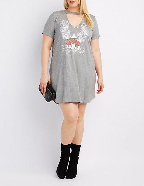 Plus Size Choker Neck Graphic T Shirt Dress Charlotte Russe