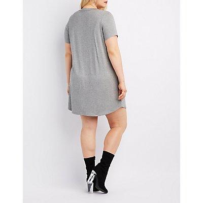Plus Size Choker Neck Graphic T-Shirt Dress