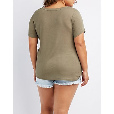 Plus Size Knotted Boyfriend Tee