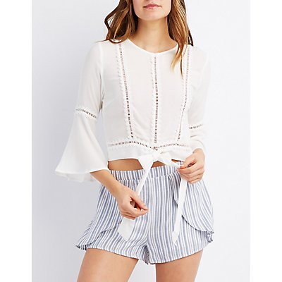 Crochet-Trim Bell Sleeve Tie-Front Top