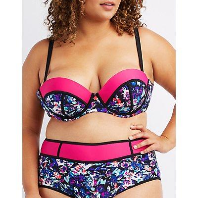 Plus Size Colorblock Underwire Bikini Top